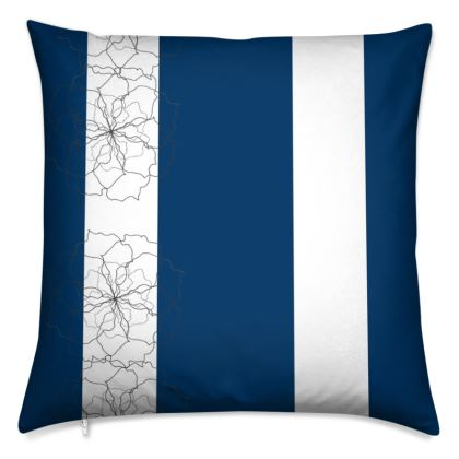 Blue and white rose striped cushion