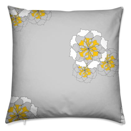 Grey and yellow rose cushion