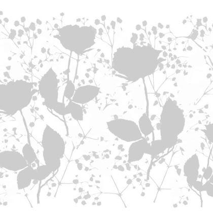 Grey floral artwork cushion