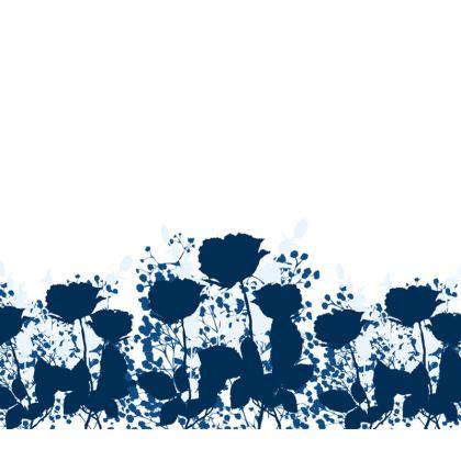 Blue and white silhouette cushion