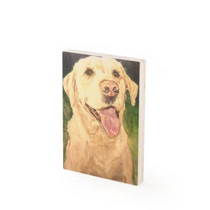 Biscuit the Golden Labrador Retriever Fine Art Vintage Style Wood Print by Somerset (UK) Artist Amanda Boorman