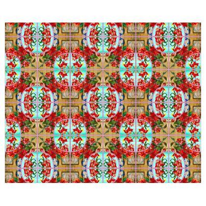 239,- Kimono-Morgenmantel im RED ORCHID mint Design Größe 2XL