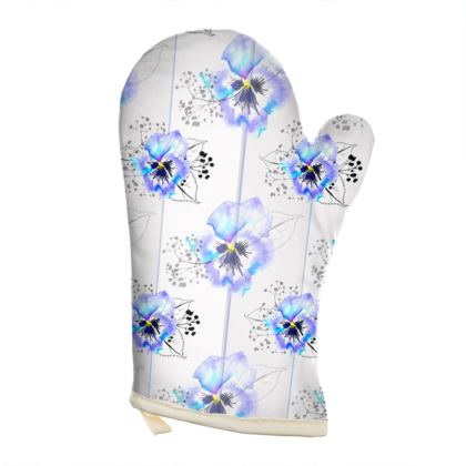 Pansy printed Oven Glove