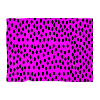 Black Polka Dot Design Cerise Pink Blanket