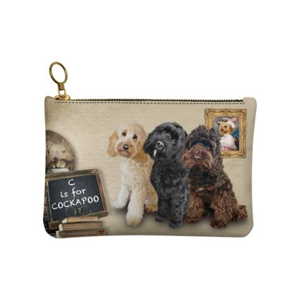C is for COCKAPOO Leather Clutch Bag