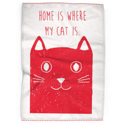 Tea Towels - Home is where my cat is