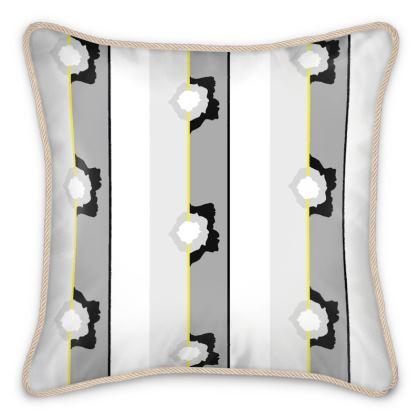 Graphic Rose striped Silk Cushions