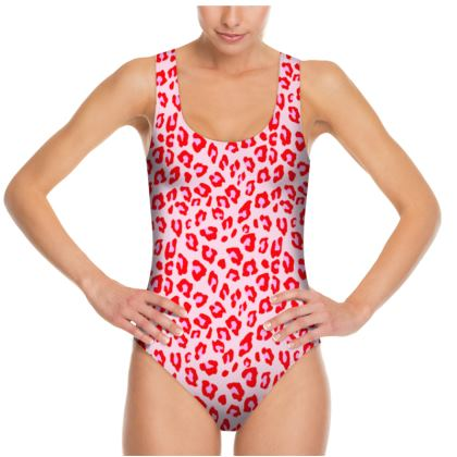 Leopard Print - Red And Pink Swimsuit