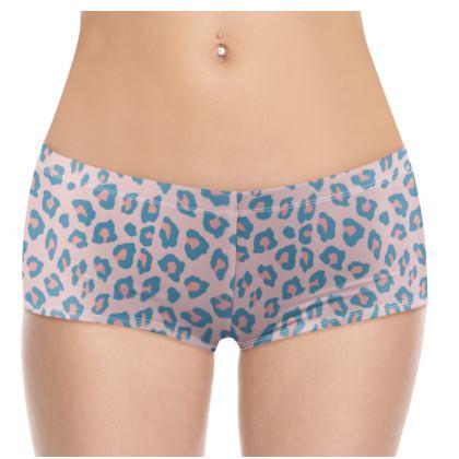 Leopard Print - Peachy Blue Shorts