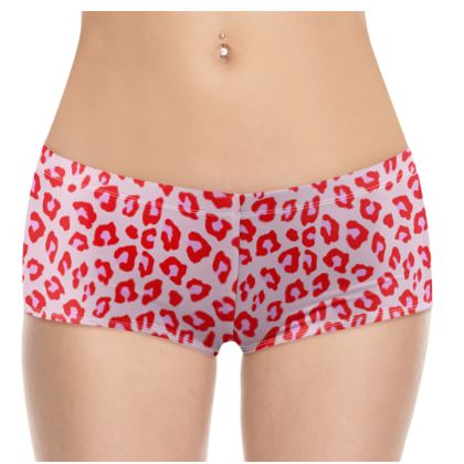 Leopard Print - Red And Pink Shorts