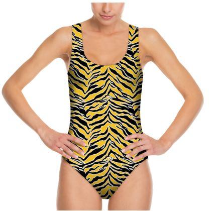 Tiger Print - Mustard Yellow Swimsuit