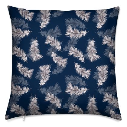 Navy feather printed Cushion