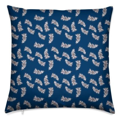 Navy mini feather printed Cushions