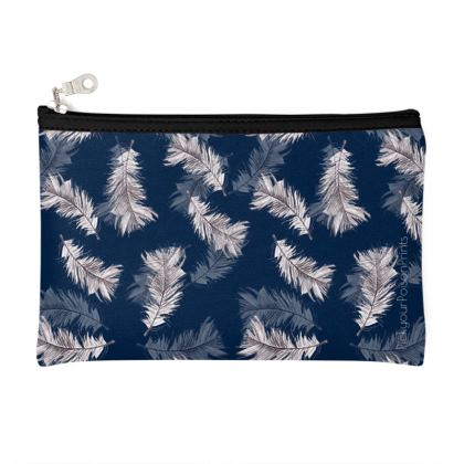 Detailed feather navy pouch