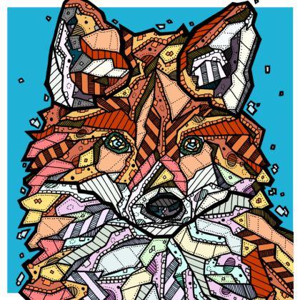 """Abstract Fox Cushion - 20"""" X 20"""""""
