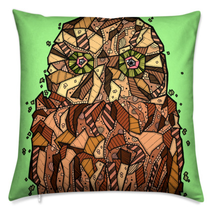"Abstract Owl Cushion - 20"" X 20"""