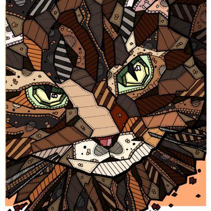 "Abstract Cat Cushion - 20"" X 20"""