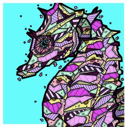 "Abstract Seahorse Cushion - 20"" X 20"""