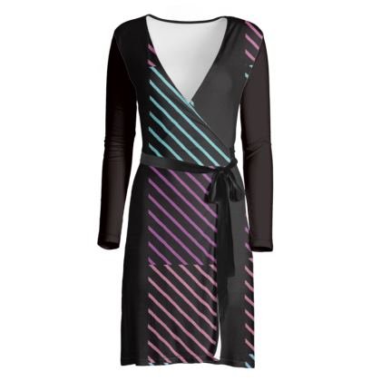Colorful Stripe Design Wrap Dress © Us and National