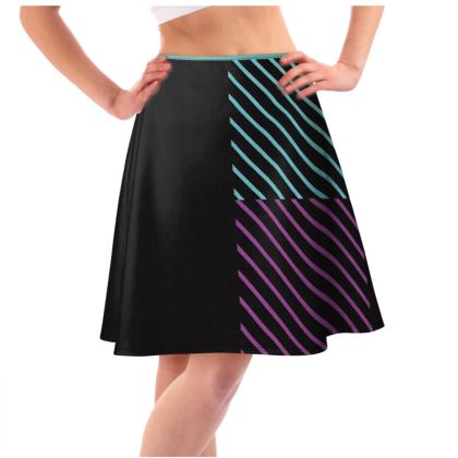 Colorful Striped Design Flared Skirt © US and National