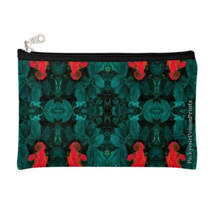 Green tulip printed pouch