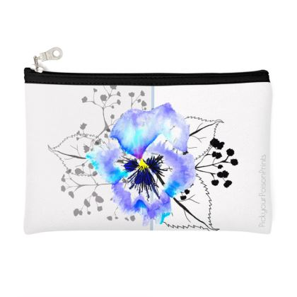 Pansy printed pouch