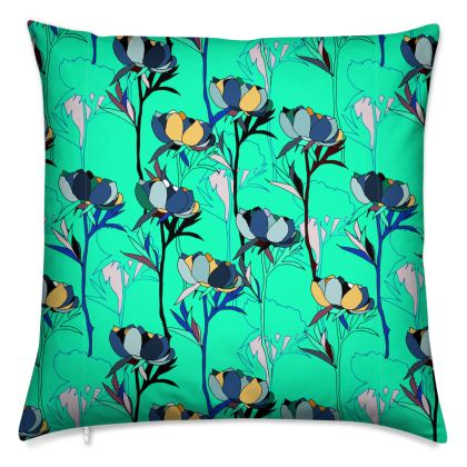 Peony Collection / Blues - Luxury Cushion