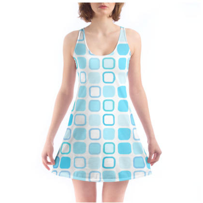 Retro Art Design Blue Beach Dress