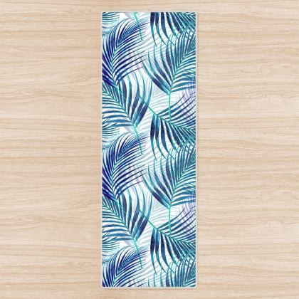 Tropical Garden in Blue Yoga Mat