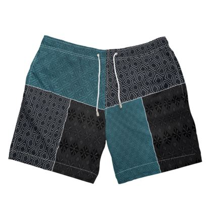 Black and Blue Mix-Matched Design Swimming Shorts ©