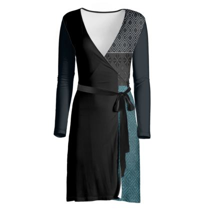 Black and Blue Diamond Mix-Matched Design Blue and Black Wrap Dress ©
