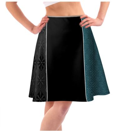 Women's Black & Blue Diamond Mix-Matched Design Flared Skirt © US and National