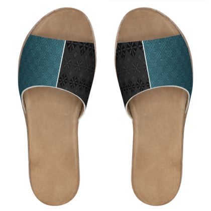 Black and Blue Diamond Mix-Matched Leather Sliders © US and National