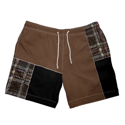 Shades of Brown Box Design Swim Shorts ©