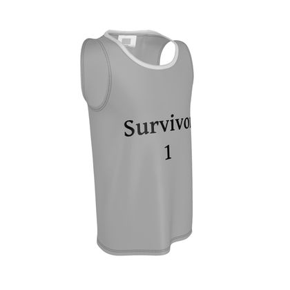 Grey Cut and Sew Vest With Black Survivor 1 Text ®