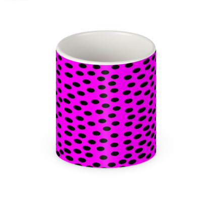 Black Polka Dot Design Cerise Pink Mug
