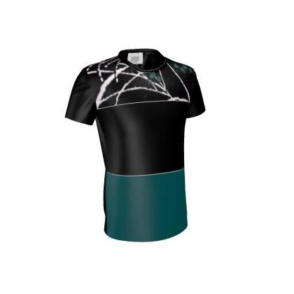 Men's Leaf Design Cut and Sew T-Shirt ©