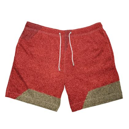 Men's Shades of Red and Faun Abstract Design ©