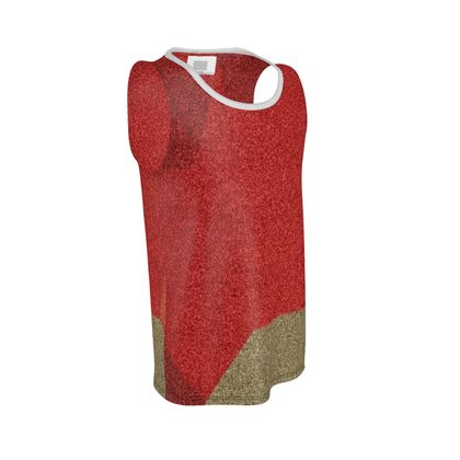 Men's Shades of Red and Faun Abstract Design Cut and Sew Vest ©