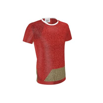 Men's Shades of Red and Faun Abstract Design Cut and Sew T Shirt ©