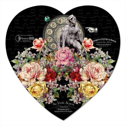 Nuit des Roses for Him Heart Jigsaw