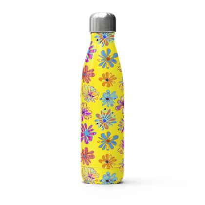 Rainbow Daisies Collection on yellow Stainless Steel Thermal Bottle