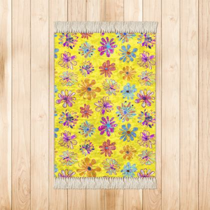 Rainbow Daisies Collection on yellow Rug