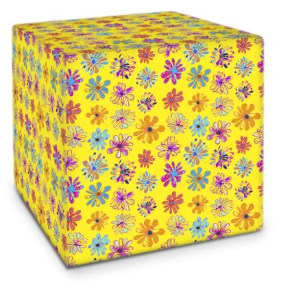 Rainbow Daisies Collection on yellow Cube