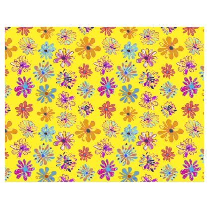 Rainbow Daisies Collection on yellow Tray