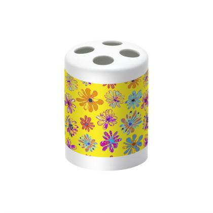Rainbow Daisies Collection on yellow Toothbrush holder