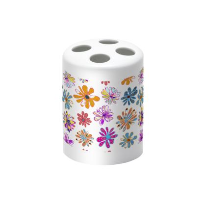 Rainbow Daisies Collection on white Toothbrush holder
