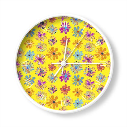Rainbow Daisies Collection on yellow Wall Clock