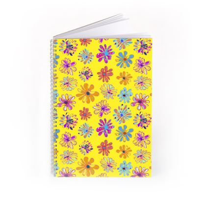 Rainbow Daisies Collection on yellow Spiral Note Book