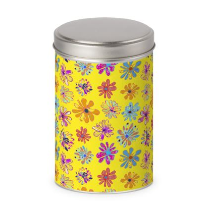 Rainbow Daisies Collection on yellow Cylinder Tin